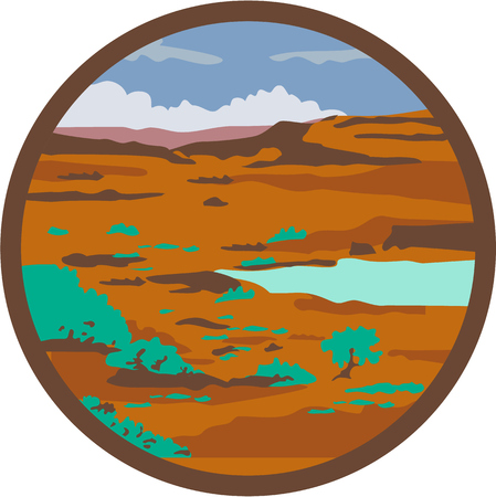 steppe: Illustration of a desert or arid steppe with water basin lake set inside circle done in retro style.