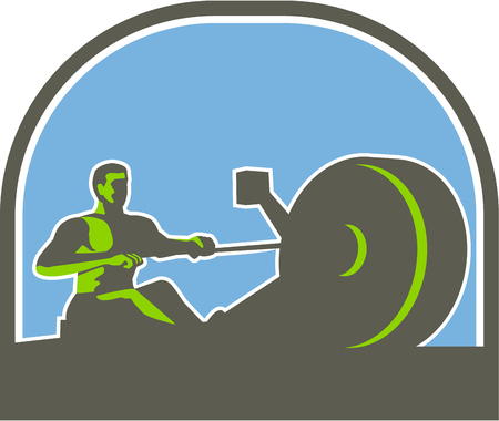 man side view: Illustration of a rower exercising on a rowing machine viewed from the side set inside half circle done in retro style.