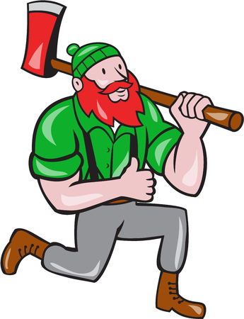 sawyer: Illustration of a Paul Bunyan an American lumberjack sawyer forest holding an axe on shoulder kneeling with thumbs up set on isolated white background done in cartoon style.