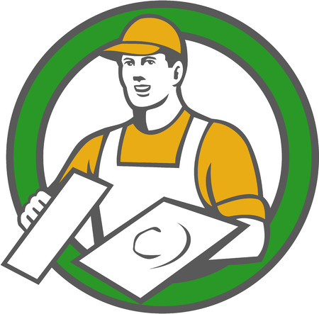 격리 된 배경에 복고 스타일을 이루어 원 안에 설정 모자 들고 흙을 입고 미장이의 벽돌 배달 건설 노동자의 그림입니다. 일러스트