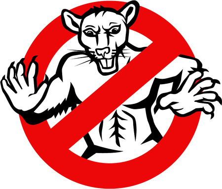 eradicate: Illustration showing a muscular white rat enclosed in a busted, stop or no entry traffic sign on isolated white background done in retro style.