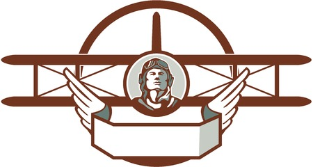 world war one: Illustration of a vintage world war one pilot airman aviator bust with spad biplane fighter plane set inside circle done in retro style.