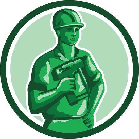 guy standing: Illustration of a green plastic toy construction worker standing wearing hard hat holding nailgun and other hand on hips  set inside circle on isolated background done in retro style. Illustration