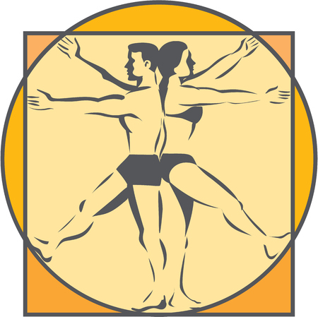 Line drawing style illustration on the Da Vinci man Vitruvian Man male female standing back to back with arms and legs raised extended viewed from the side set inside circle done in retro style.