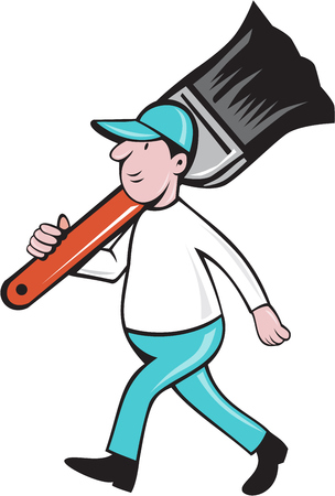house painter: Illustration of a house painter walking carrying giant paintbrush on shoulder viewed from the side set on isolated white background done in cartoon style.