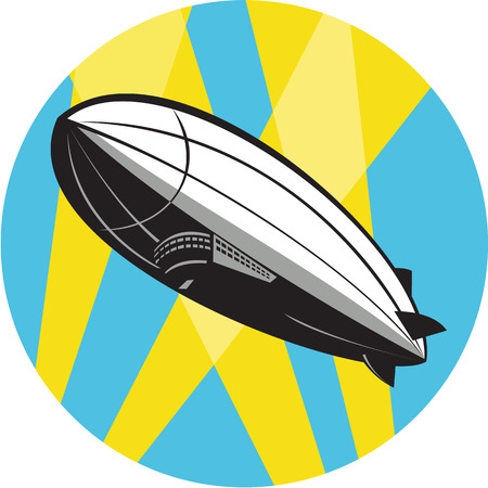 overhead: Illustration of a zeppelin blimp flying overhead set inside circle done in retro style.