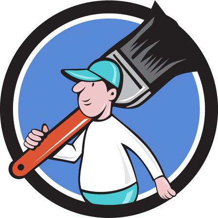 house painter: Illustration of a house painter walking carrying giant paintbrush on shoulder viewed from the side set inside circle on isolated background done in cartoon style.