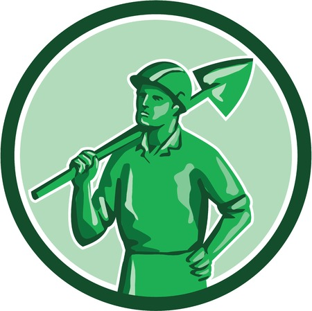 hand shovels: Illustration of a green plastic toy miner standing wearing hard hat holding shovel on shoulder and other hand on hips set inside circle on isolated background done in retro style.