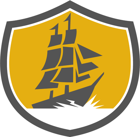 tall ship: Illustration of a sailing tall galleon ship set inside crest shied on isolated background done in retro style.