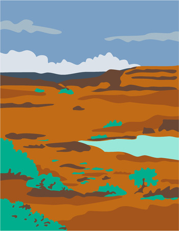basin: WPA style illustration of a columbian basin desert or arid steppe with water basin lake scenery set inside rectangle shape.