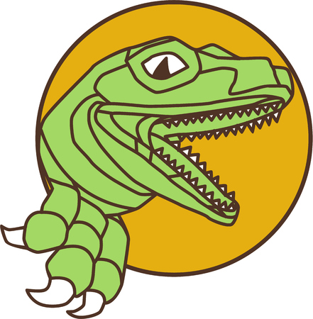 raptor: Drawing sketch style illustration of a raptor t-rex dinosaur lizard reptile head breaking out of wall viewed from the set inside circle on isolated background.