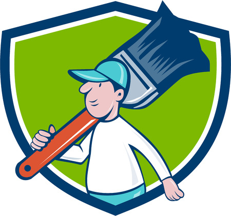 house painter: Illustration of a house painter walking carrying giant paintbrush on shoulder viewed from the side set inside shield crest on isolated background done in cartoon style.