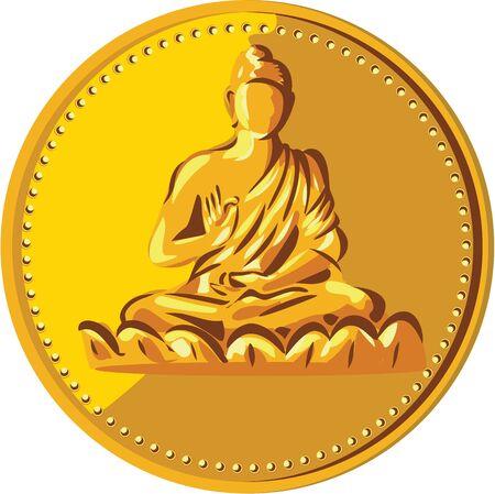 gautama buddha: Illustration of a gold coin medallion showing silhouette of Gautama Buddha, Siddh?rtha Gautama, Shakyamuni Buddha in lotus position viewed from front done in retro style. Illustration