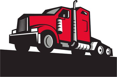 truck tractor: Illustration of a semi truck tractor set on isolated white background viewed from low angle done in retro style.