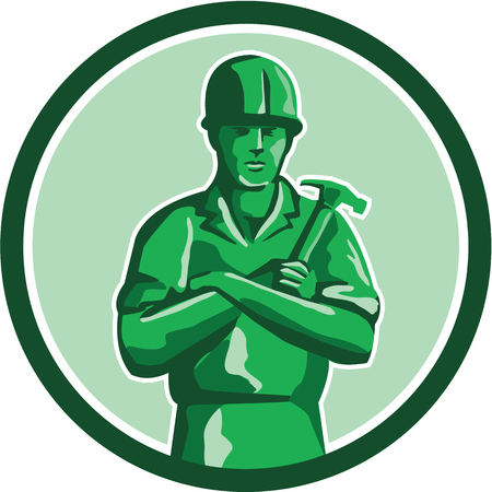 construction hat: Illustration of a green plastic toy builder construction worker standing wearing hard hat holding hammer arms crossed viewed from front set inside circle on isolated background done in retro style. Illustration