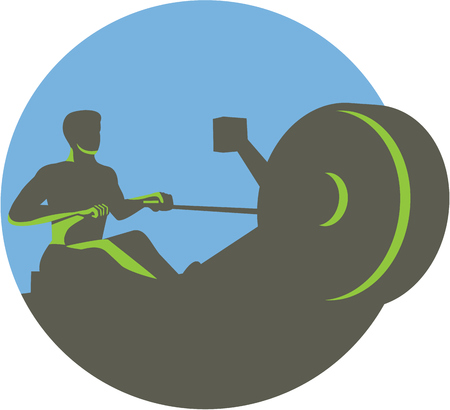 rows: Illustration of a silhouette of a rower exercising on a rowing machine viewed from front set inside circle done in retro style.