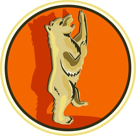 gold brown: Illustration of a grizzly brown gold bear standing with paws in the air viewed from the side set inside circle done in retro style.