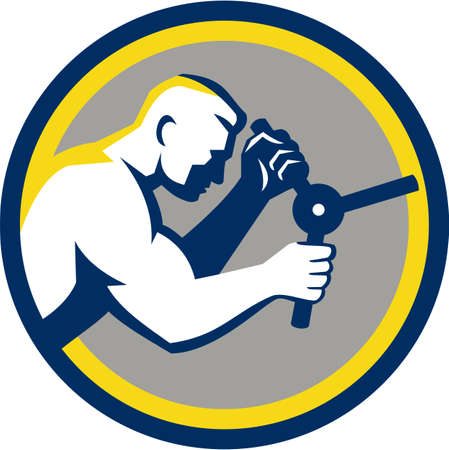 metal worker: Illustration of a male worker opening safe handle viewed from side set inside circle done in retro style.