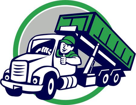 Illustration d'un pilote bin camion roll-off souriante avec les pouces jusqu'à vue de l'avant ensemble, intérieur, cercle fait dans le style de bande dessinée.