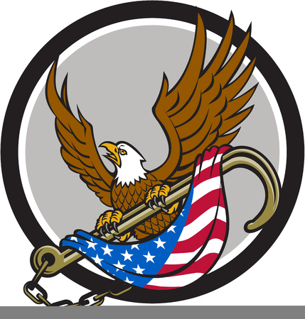 talon: Illustration of an american bald eagle looking to the side clutching with its talon a towing j hook with chains draped with usa american flag viewed from front set inside circle done in retro style. Illustration