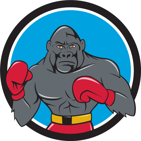 stance: Illustration of a gorilla boxer in boxing stance viewed from front set inside circle done in cartoon style. Illustration