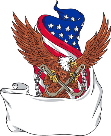 talon: Drawing sketch style illustration of an american bald eagle looking to the side clutching with its talon towing j hooks with chains viewed from front with an unfurled usa american stars and stripes flag in the background. Illustration