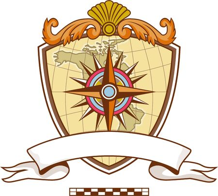 navigating: Illustration of a compass or star with map in the background set inside coat of arms crest and banner with ribbon in front done in retro style. Illustration