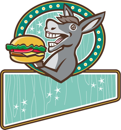 oval shape: Illustration of a donkey, ass, mule or horse mascot serving up a hamburger burger sandwich viewed from the side set inside oval shape and rectangle shape in the bottom with woodgrain done in 1950s retro diner style