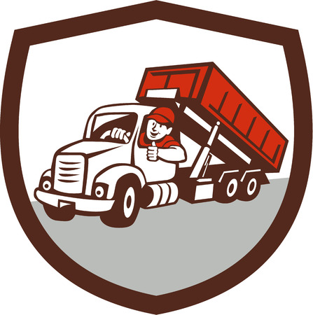 Ilustración de un conductor de camión bin roll-off y sonriente con los pulgares para arriba vistos de frente, situada en el interior cresta escudo hecho en estilo de dibujos animados. Ilustración de vector
