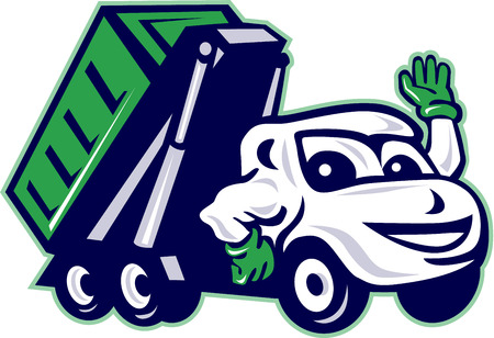 Illustration of a roll-off bin truck waving viewed from front set on isolated white background done in cartoon style.