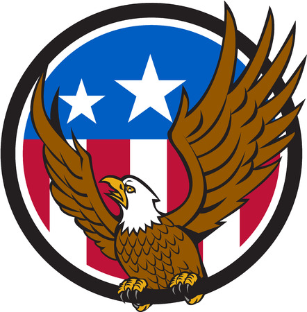 spread eagle: Illustration of a bald eagle looking to the side spreading its wings viewed from front set inside circle with usa american flag in the background done in retro style. Illustration