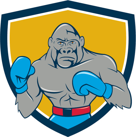 stance: Illustration of a gorilla boxer in boxing stance viewed from front set inside shield crest done in cartoon style. Illustration