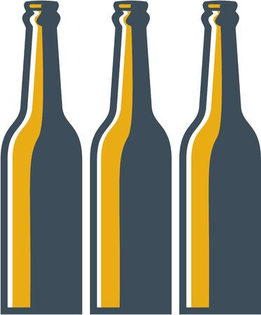 long neck: Illustration of three beer bottles long neck bottles viewed from front set on isolated white background done in retro style.