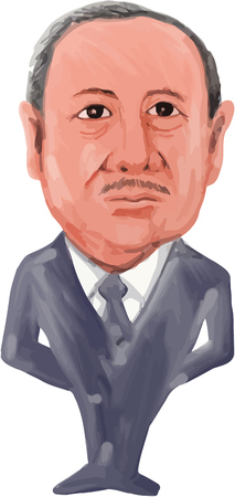 recep tayyip erdogan: Water color caricature illustration of the 14th President of Turkey, Recep Tayyip Erdogan viewed from front on isolated white background done in cartoon style.