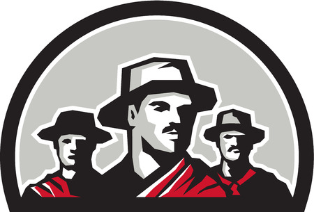 rancher: Illustration of a group of gauchos set inside half circle shape on isolated background done in retro style.
