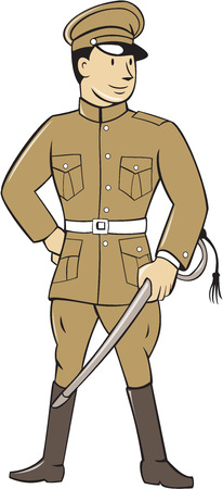 serviceman: Illustration of a World War one British officer soldier serviceman standing holding sword looking to the side viewed from front set on isolated white background done in cartoon style.