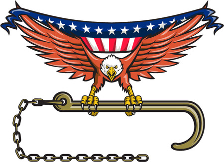 talon: Illustration of an american bald eagle flying clutching towing j hook with its talon viewed from front with usa american stars and stripes flag in its wings set on isolated white background done in retro style.