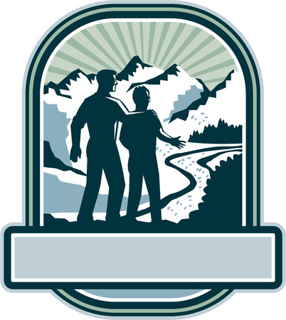 man rear view: Illustration of a father and son about to start a journey together viewed from the back with mountains and sunburst in the background set inside shield crest with banner in the bottom done in retro style.