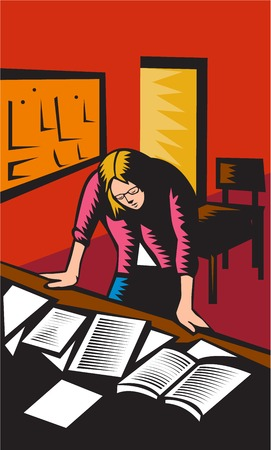 looking down: Illustration of a teacher in a classroom depressed looking down with both hands on desk with books notes papers on it with board and chairs in the background done in retro woodcut style. Illustration