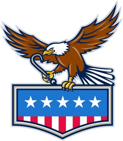 talon: Illustration of an american bald eagle holding towing j hook and clutching american usa flag inside shield crest with its talon set on isolated white background done in retro style.