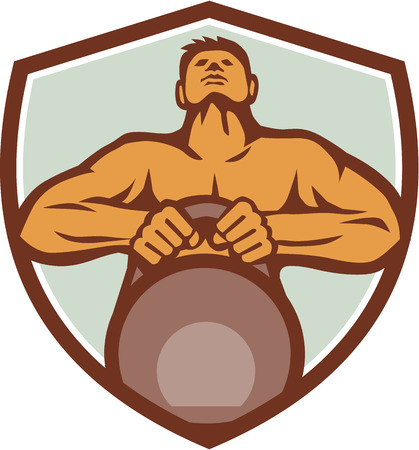 strong men: Illustration of an athlete weightlifter looking up lifting kettlebell with both hands viewed from front set inside shield crest on isolated background done in retro style.