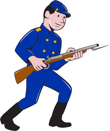cartoon soldat: Illustration eines Gewerkschafts-Armee Soldaten während des amerikanischen Bürgerkriegs hält das Gewehr mit Bajonett auf isolierte weißen Hintergrund im Cartoon-Stil getan.