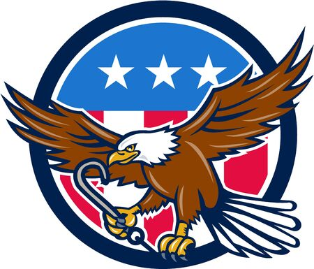 talon: Illustration of an american bald eagle clutching towing j hook with its talon viewed from side set inside circle with usa stars and stripes flag in the background done in retro style.