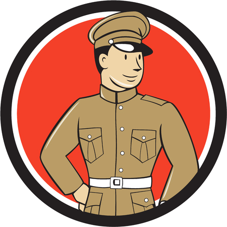 one people: Illustration of a World War one British officer soldier serviceman standing looking to the side viewed from front set inside circle on isolated background done in cartoon style.