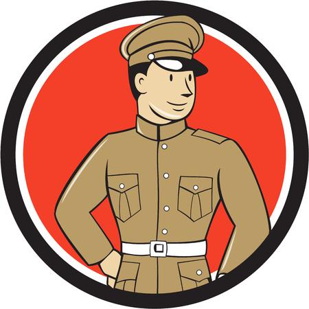 soldado: Ilustración de una Guerra Mundial un oficial británico soldado militar de pie mirando hacia el lado visto de frente fijó el círculo interior en el fondo aislado hecho en estilo de dibujos animados.