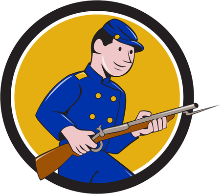 bayonet: Illustration of a Union Army soldier during the American Civil War holding rifle with bayonet set inside circle on isolated background done in cartoon style.