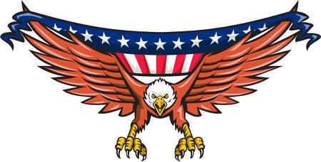 Illustratie van een Amerikaanse bald eagle vliegen stoten van voorzijde met usa Amerikaanse sterren en strepen vlag in zijn vleugels die op witte achtergrond gedaan in retro stijl.
