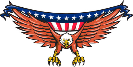 eagle: Illustration of an american bald eagle flying swooping viewed from front with usa american stars and stripes flag in its wings set on isolated white background done in retro style. Illustration