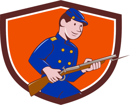 civil war: Illustration of a Union Army soldier during the American Civil War holding rifle with bayonet set inside shield crest on isolated background done in cartoon style.