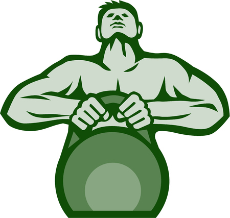 cannonball: Illustration of an athlete weightlifter looking up lifting kettlebell with both hands viewed from front set on isolated white background done in retro style. Illustration